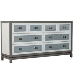 Custom Grey and White Eight Drawers Antique Mirrored Commode