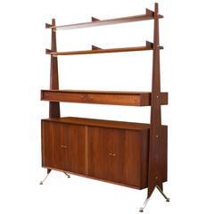 Swedish Modern Free-Standing Storage Bookshelf Unit