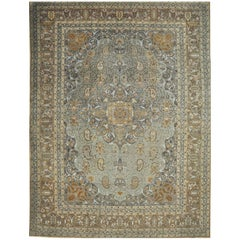 Antique Hand Knotted Wool Persian Tabriz Rug