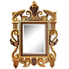Boldly Scaled American Neo-Grec Carved and Giltwood Mirror