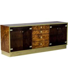 1960s Burled Wood Polished Brass and Glass Credenza