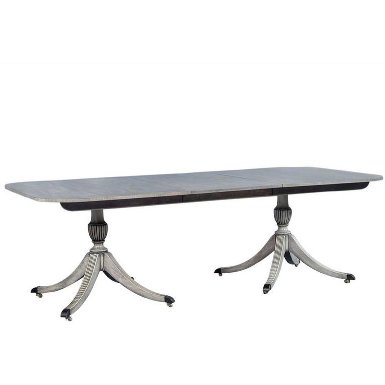 Dove Grey Mahogany Duncan Phyfe Dining Table For Sale