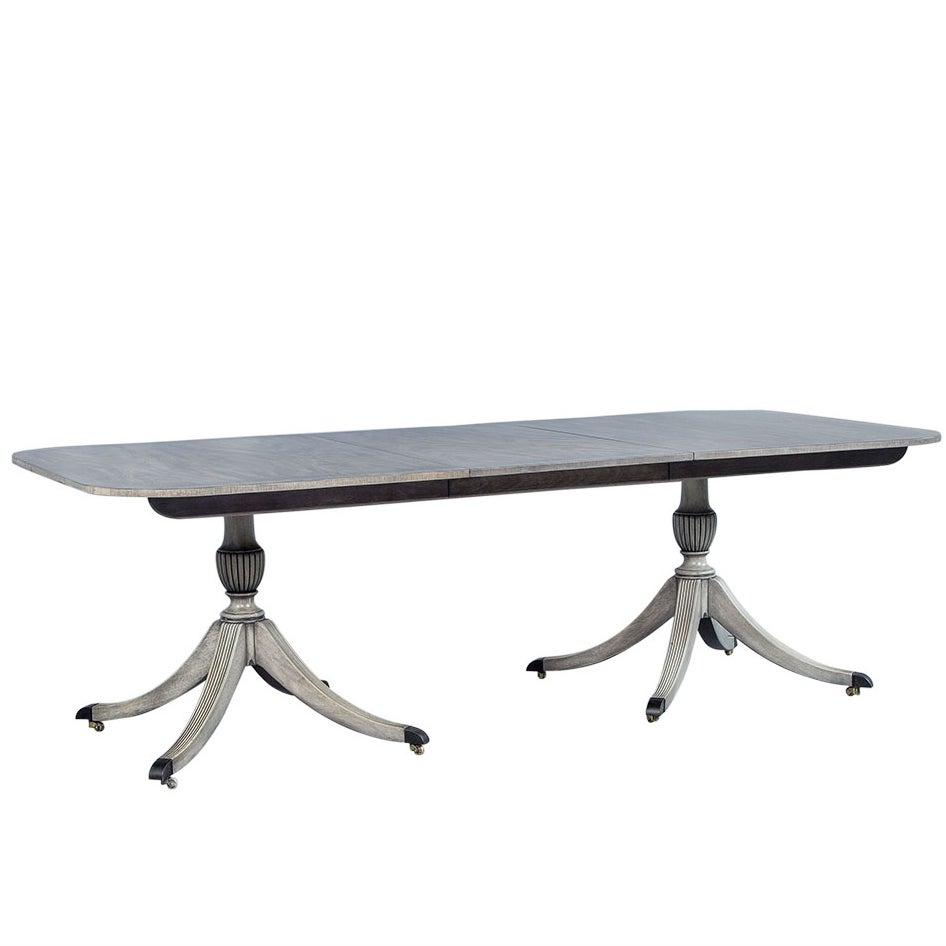 Dove Grey Mahogany Duncan Phyfe Dining Table