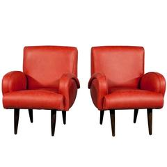 Pair of Mid-Century Distressed Red Leather Lounge Chairs