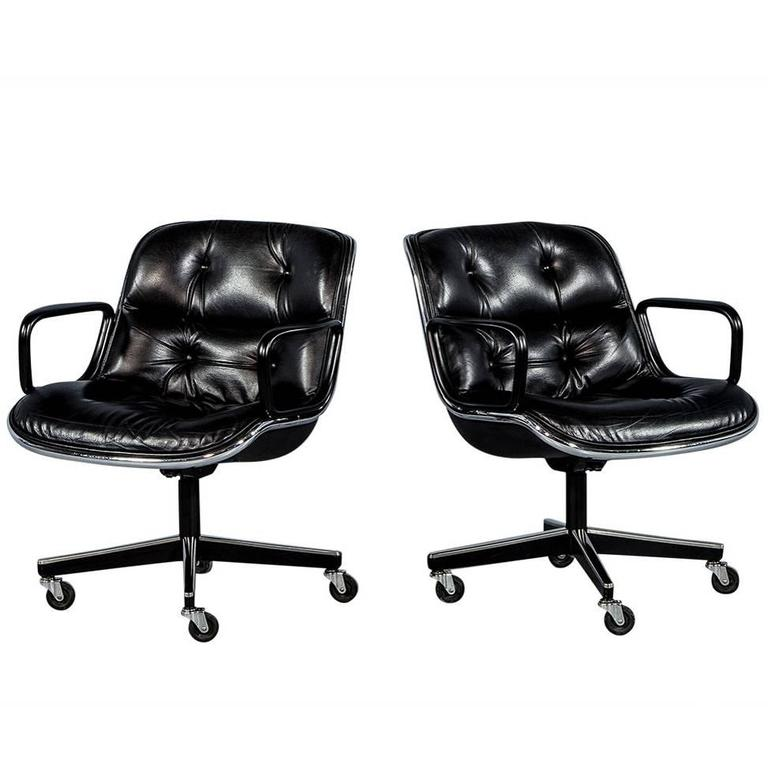 Pair Of Vintage Black Leather Tufted Office Chairs Attributed To Charles Pollock For