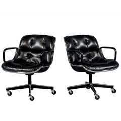 Pair of Vintage Black Leather Tufted Office Chairs Attributed to Charles Pollock