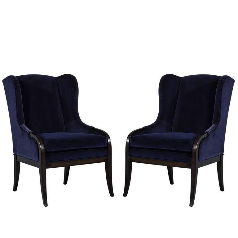 Pair Of Blue Velvet Wing Chairs By Carrocel For Sale At