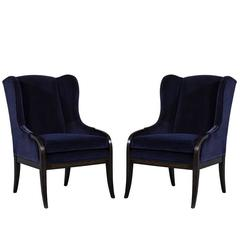 Pair of Blue Velvet Wing Chairs by Carrocel