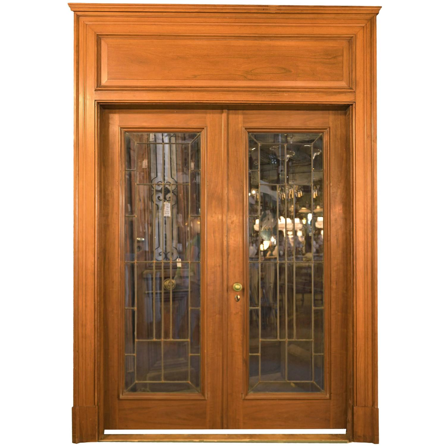 Walnut leaded glass french door unit with oversized for Double glazed french doors for sale