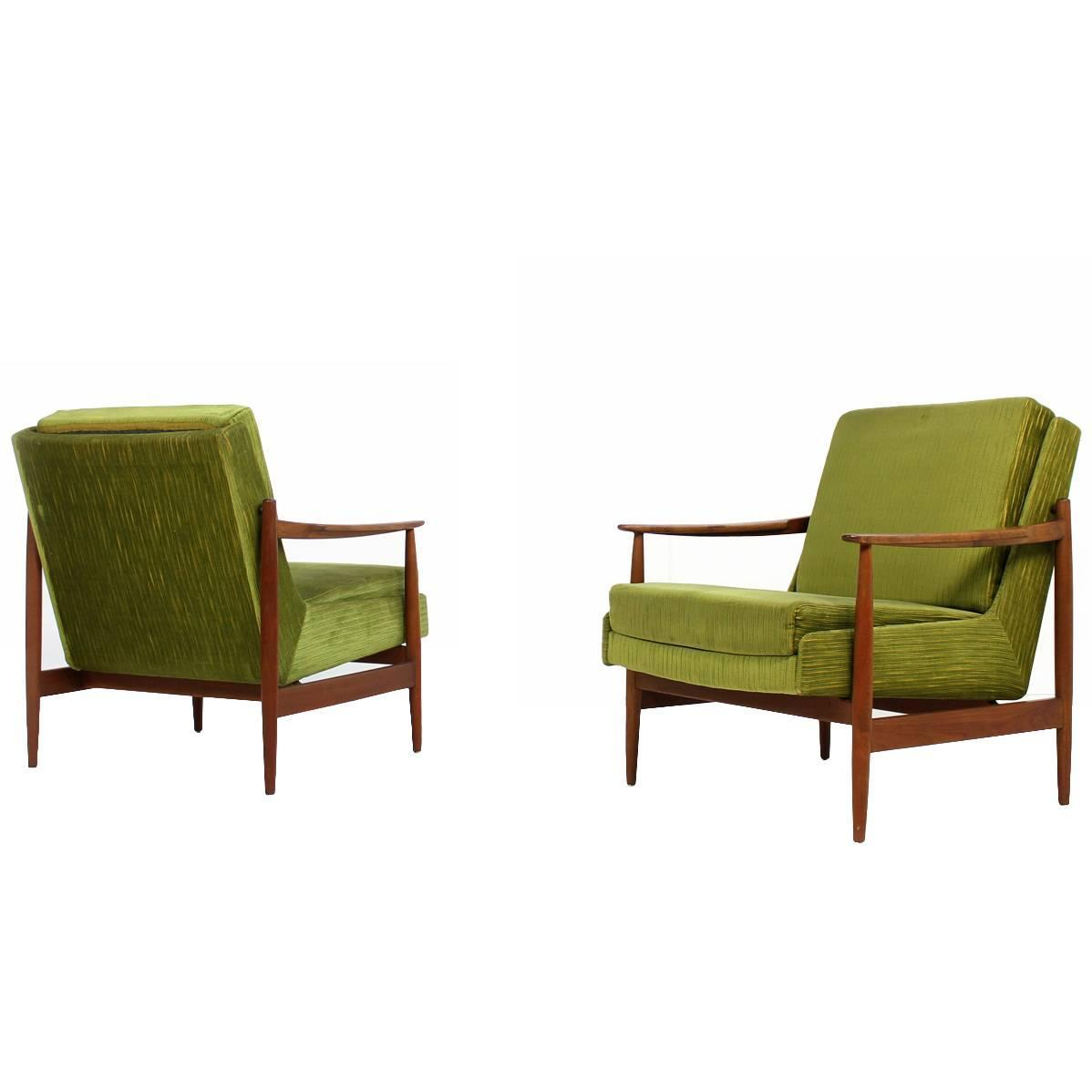 Pair of midcentury modern teak lounge easy chairs by eugen for Chaise schmidt