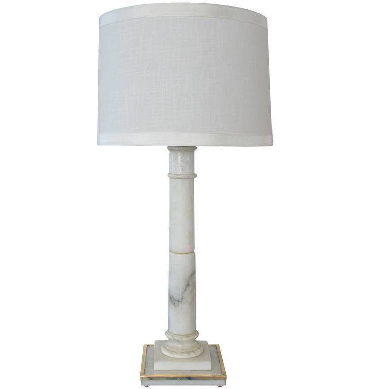 Sleek Hollywood Regency Carved Carrara Marble Columnar Lamp; Marbro Lamp Co