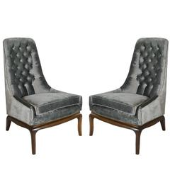 Pair of Tufted High Back Slipper Chairs, 1950s