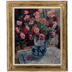 "James Bolivar Manson Oil on Canvas ""Carnations"""
