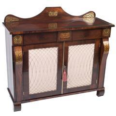 19th Century Regency Brass Inlaid Cabinet Chiffonier
