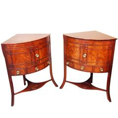 Antique Georgian Mahogany Pair of Corner Washstands