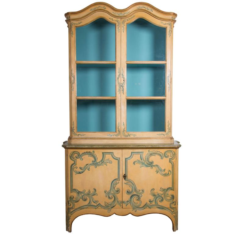 Painted Italian Cabinet with Glazed Doors For Sale