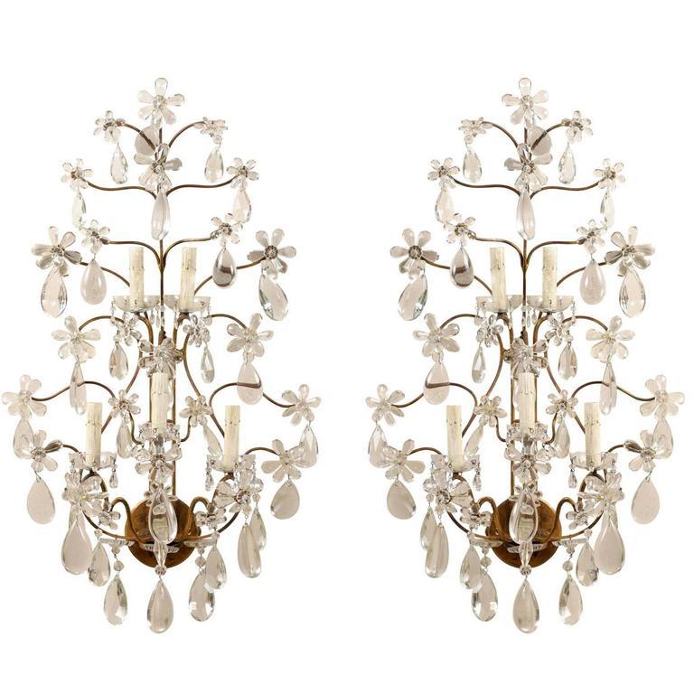 Pair of Italian Five-Light Crystal Mid Century Sconces