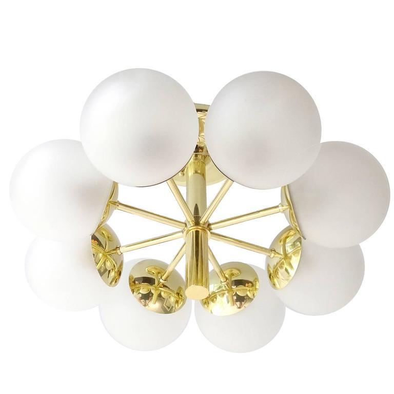 Kaiser Brass & Glass Globes Chandelier, 1960s Stilnovo Style   3
