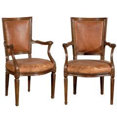 Pair of 19th Century Italian Leather Armchairs