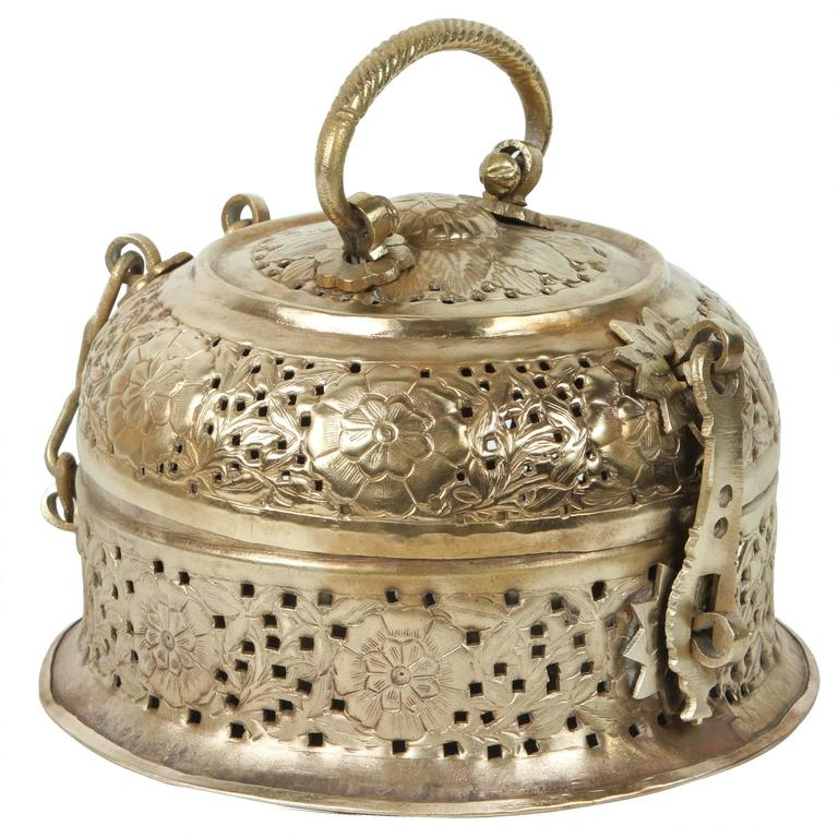 Anglo-Indian Polished Brass Pierced Box For Sale