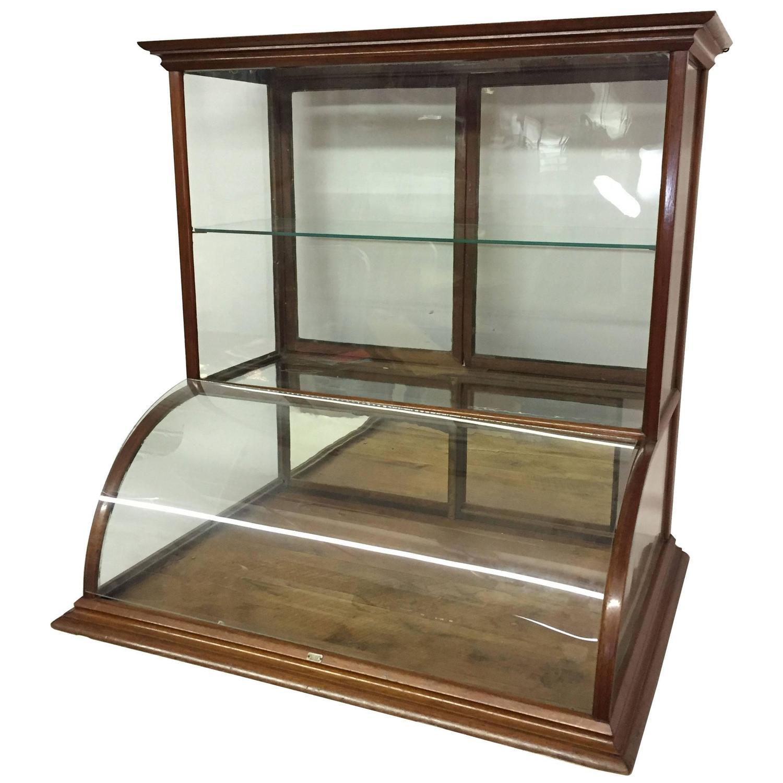J.H. Terhune New York Walnut And Glass Counter Top Display