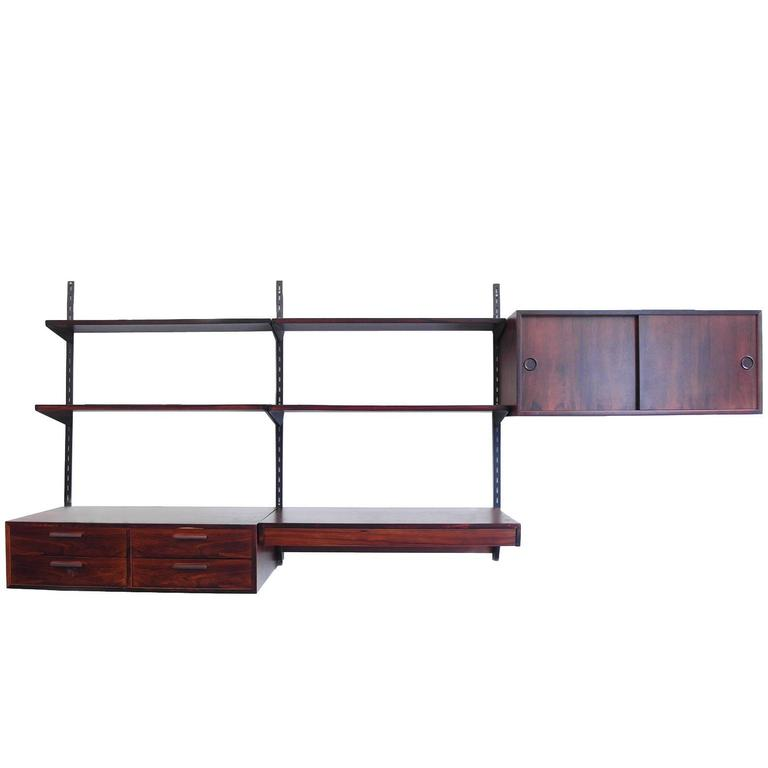 danish wall mounted shelving unit by kai kristiansen for. Black Bedroom Furniture Sets. Home Design Ideas