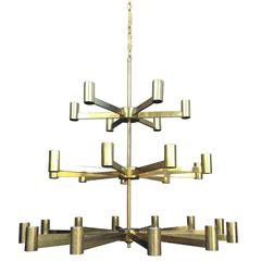 Large Scale Three-Tier 1960s Italian Chandelier Attributed to Arredoluce Monza