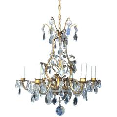 20th Century Crystal and Gilt Metal Chandelier
