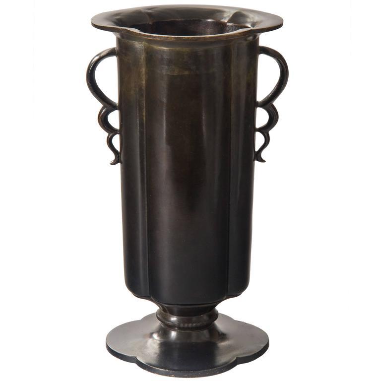 Just Andersen, Handled Danish Patinated Bronze Vase, Model B50