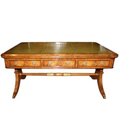 19th Century English Regency Burl Elmwood and Parcel-Gilt Partners Desk