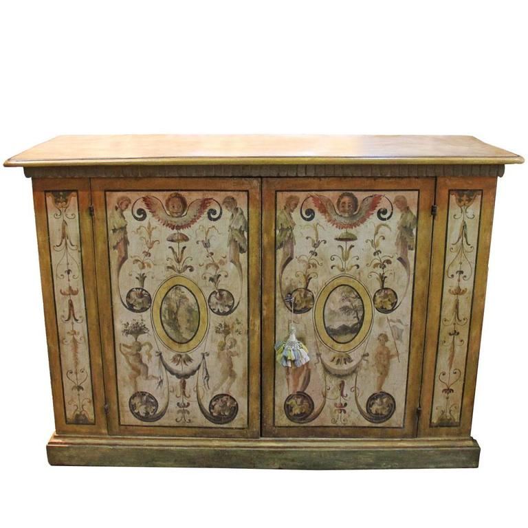 18th Century Neoclassical Louis XVI Venetian Polychrome Two-Door Credenza 1