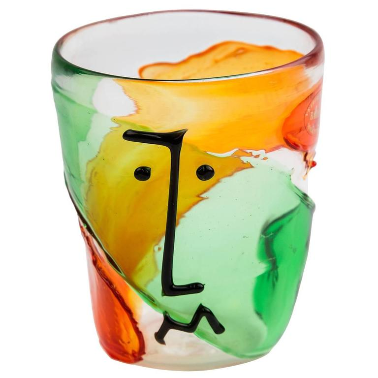 Murano Badioli Multicolored Picasso Style Abstract Glass Face Vase For Sale