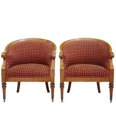 Pair of 1920s Fruitwood Tub Armchairs