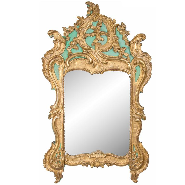 Exquisite French Louis XV Green Painted and Parcel-Gilt Mirror