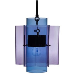 Petrona Colored Star-Shaped Pendant Chandelier in Purple and Blue Blown Glass