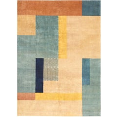 Vintage Mid Century Art Deco Indian Rug. Size: 6 ft 10 in x 9 ft 3 in