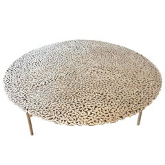 Jean White Bronze Lost Wax Cast Butterfly Indoor or Outdoor Coffee Table