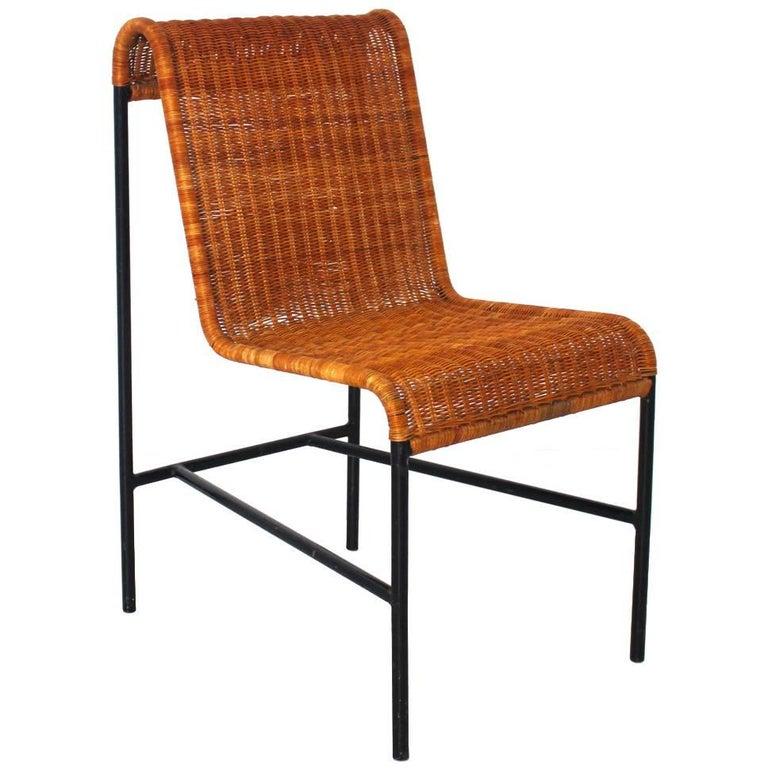 Mid-Century Modern Chair by Harold Cohen and Davis Pratt, USA, 1953 Rattan Metal For Sale