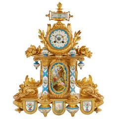Impressive and Extravagant Ormolu and Porcelain-Mounted Mantel Clock
