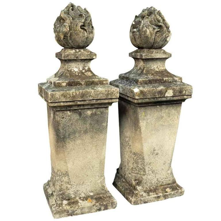 Pair of stone flambeau finials, ca. 1880, offered by Provenance Antiques