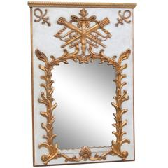 French Style Painted and Gilt Trumeau Mirror