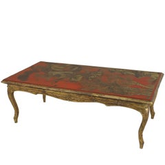 Red Lacquered and Giltwood Coffee Table