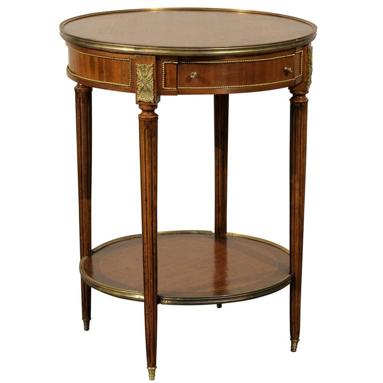 Early 20th Century French Bronze-Mounted Inlaid Bouilotte Table
