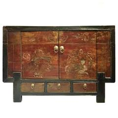Antique Chinese Chest with Primitive Paintings