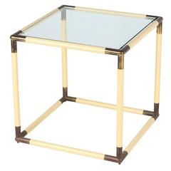 Modernist Italian Geometric Cube Form Glass Top Table