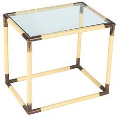 Chic Modern Italian Geometric Glass Top Table