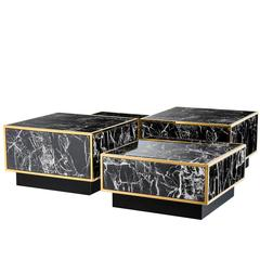 Coffee Table Floors, Set of Four Square Tables, Gold Finish and Marble