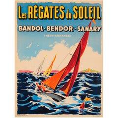 Original Vintage Sailing Event Poster for the Regatta of the Sun 'Mediterranean'