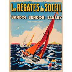 Original Vintage Sailing Event Poster for the Regatta of the Sun 'Mediterranean'