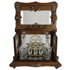 Swiss Walnut Liquor Box with Four Decanters and 16 Cordial/Aperitif Glasses